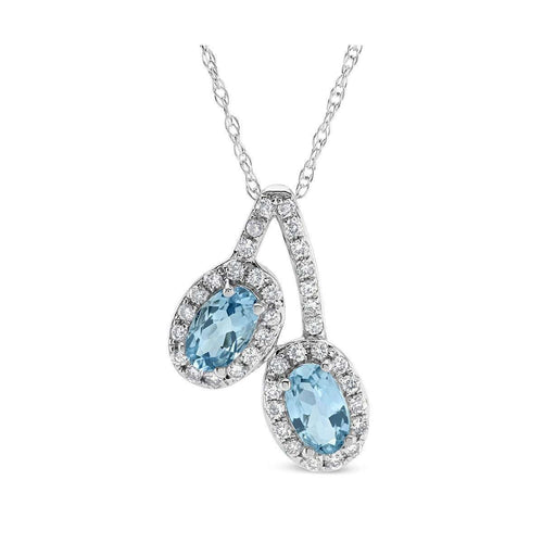 14kt White Gold Diamond And Aquamarine Double Oval Pendant-Marmalade Fine Jewellery-JewelStreet US