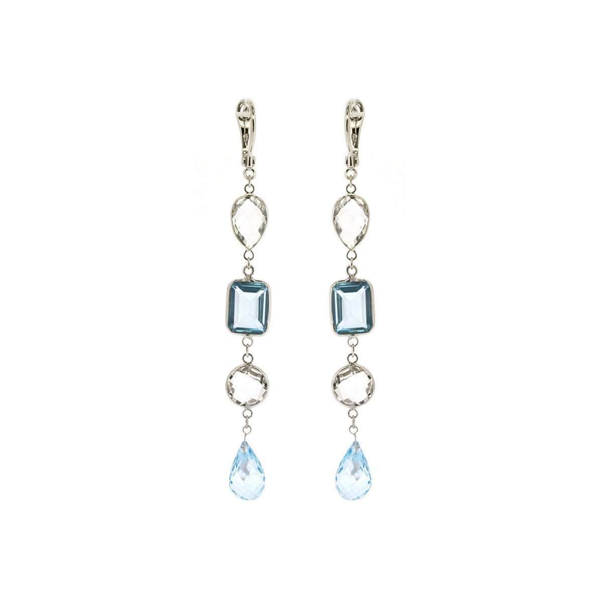 18kt White Gold Blue and White Topaz Drop Earrings-Marmalade Fine Jewellery-JewelStreet US