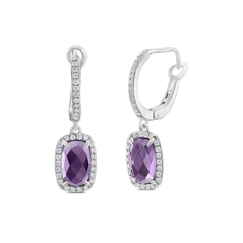 14kt White Gold Chequer Cut Cushion Shape Amethyst Earrings-Marmalade Fine Jewellery-JewelStreet US