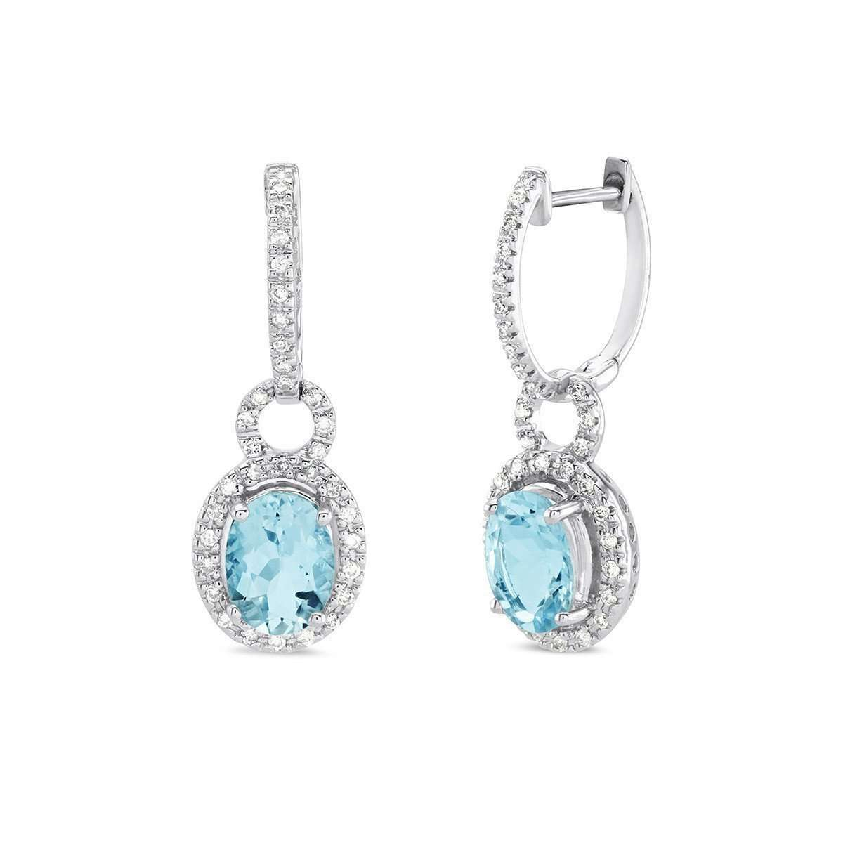 14kt White Gold Oval Cut Aqua Marine Dangly Earrings-Marmalade Fine Jewellery-JewelStreet US