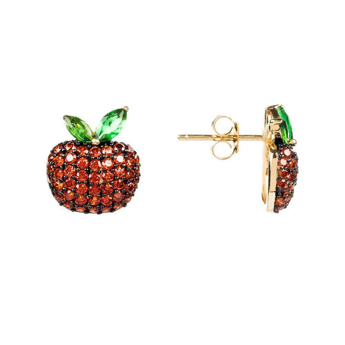 Yellow Gold Plated Sparkling Red Apple Earrings