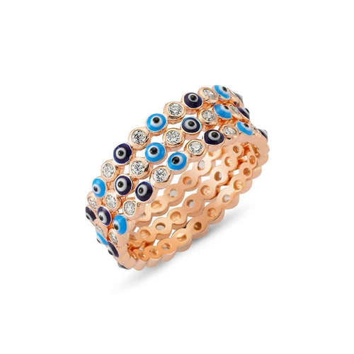 Evil Eye Ring Set in 18K Rose Gold Plating-Amorium-JewelStreet US