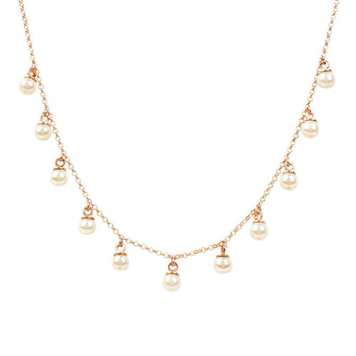 Rose Gold Plated Silver Multi Pearl Necklace