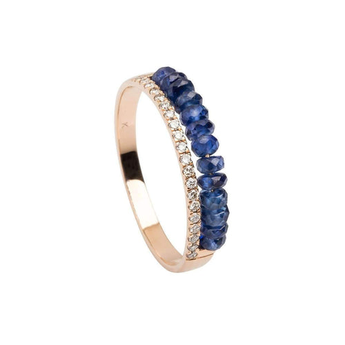 18kt Rose Gold Diamond and Blue Sapphire Ring-KK Jewelry Lab by Katerina Kouloubourou-JewelStreet US