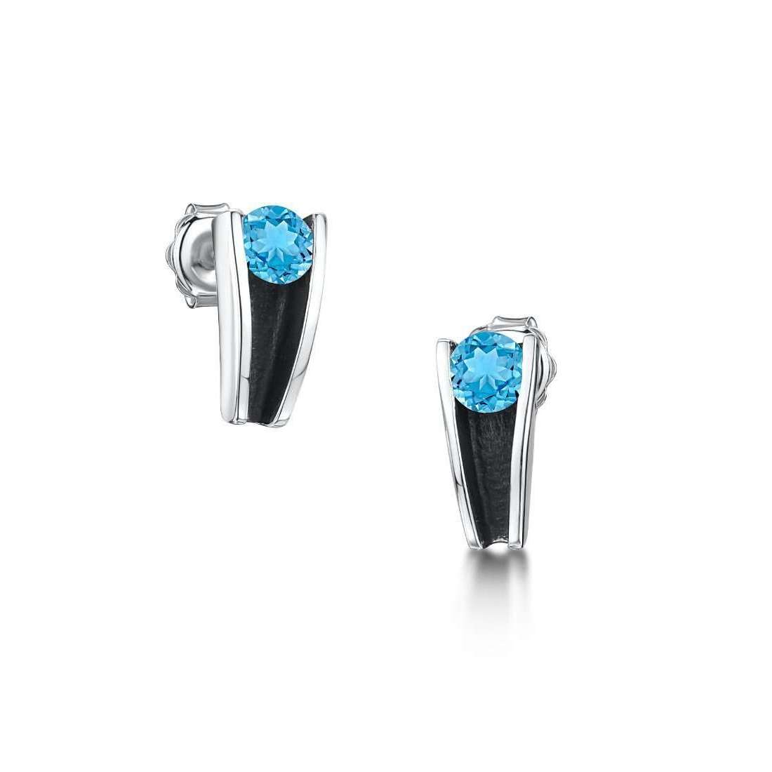 Silver and Swiss Blue Topaz Stud Earrings-Becky Rowe-JewelStreet US