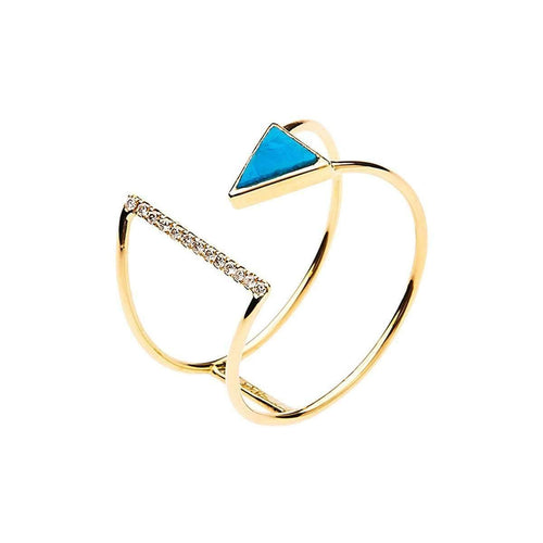 18kt Gold Diamond And Turquoise Ring-KK Jewelry Lab by Katerina Kouloubourou-JewelStreet US