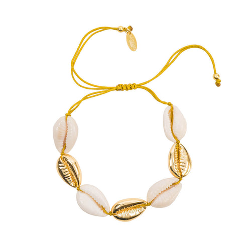 Yellow Gold Plated Multi Cowrie Shell Macrame Bracelet ,[product vendor],JewelStreet
