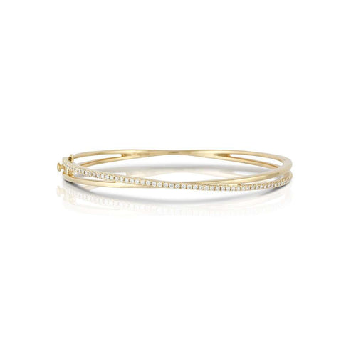 18kt Yellow Gold and Diamond Crossover Bangle