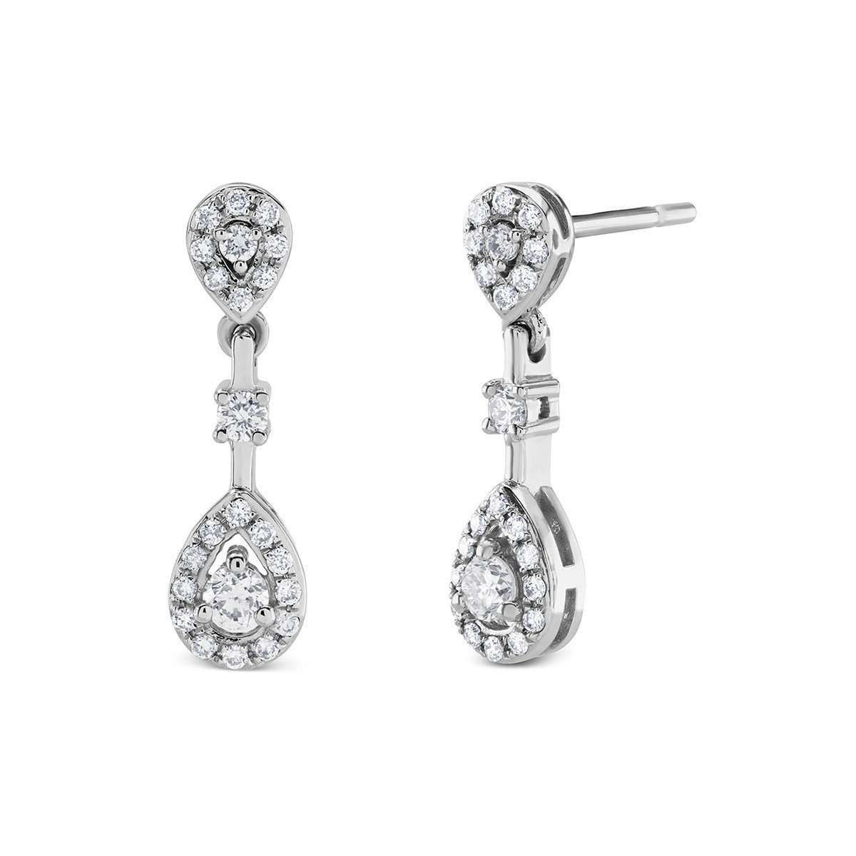 14kt White Gold Diamond Pear Shape Cluster Drop Earrings-Marmalade Fine Jewellery-JewelStreet US