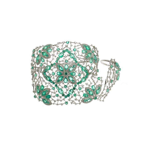 Emerald Ring and Cuff Bracelet-Gaydamak Jewellery-JewelStreet US