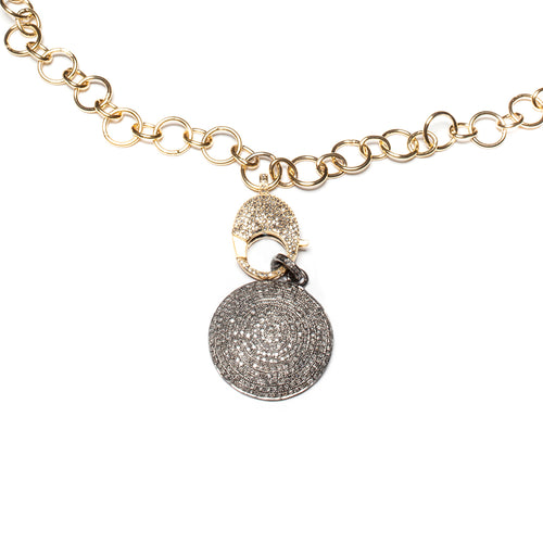 Yellow Gold Plated Large Link Chain Pave Diamond Clasp Necklace ,[product vendor],JewelStreet