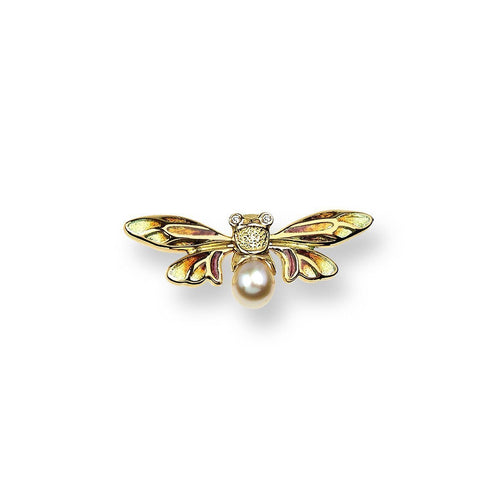 18kt Gold Bee Lapel Pin-Brooches-Nicole Barr-JewelStreet