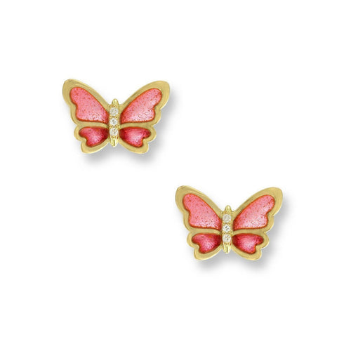 18kt Gold Butterfly Pink Stud Earrings-Earrings-Nicole Barr-JewelStreet