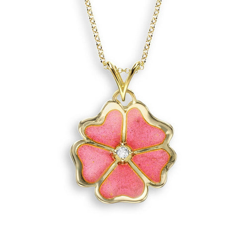 18kt Gold Flower Pink Necklace-Necklaces-Nicole Barr-JewelStreet