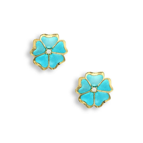 18kt Gold Flower Turquoise Stud Earrings-Earrings-Nicole Barr-JewelStreet