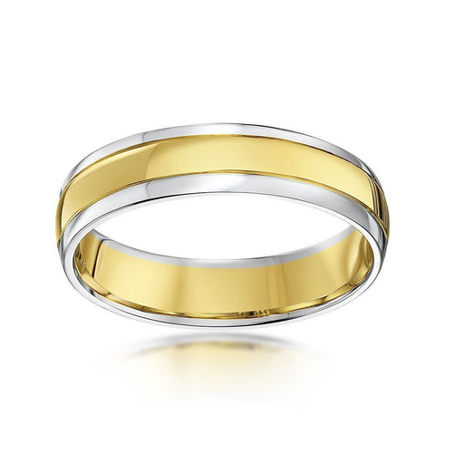 9kt White & Yellow Gold Court Shape Wedding Ring ,[product vendor],JewelStreet