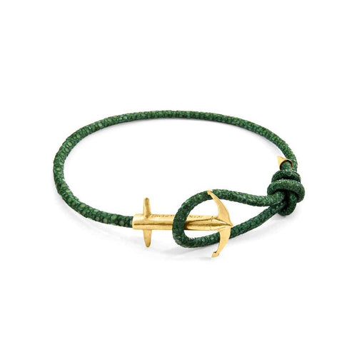 Anchor 9kt Yellow Gold & Stingray Leather Bracelet - Racing Green ,[product vendor],JewelStreet