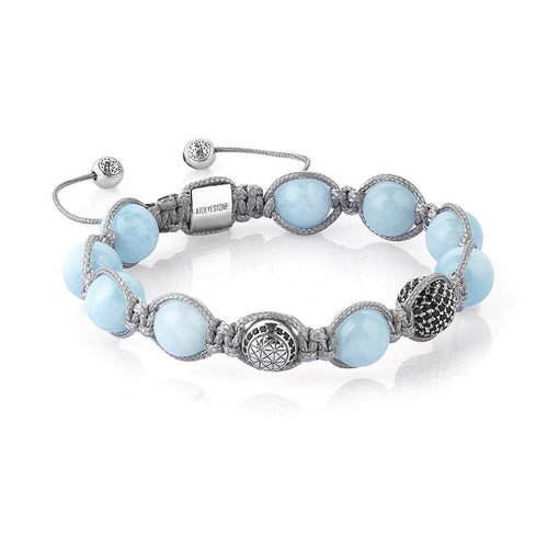 Aquamarine Macrame Bracelet ,[product vendor],JewelStreet