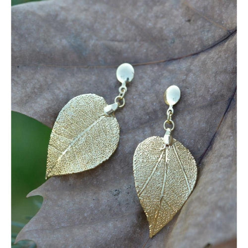 Arabesque Earrings Savannah's Leaf - Drop Shape Without Ribs-Earrings-Amazona Secrets-JewelStreet