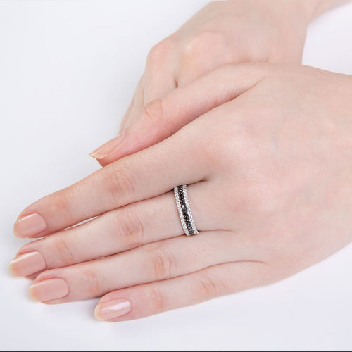 Black And White 3-Ring Combination in White Gold ,[product vendor],JewelStreet