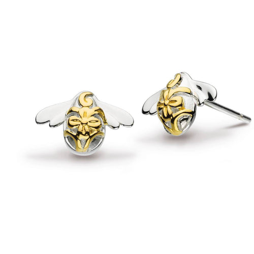 Blossom Bumblebee Gold Plate Stud Earrings ,[product vendor],JewelStreet