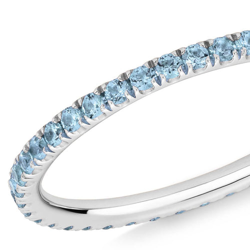 Blue Topaz Full Eternity Ring In 18kt White Gold ,[product vendor],JewelStreet