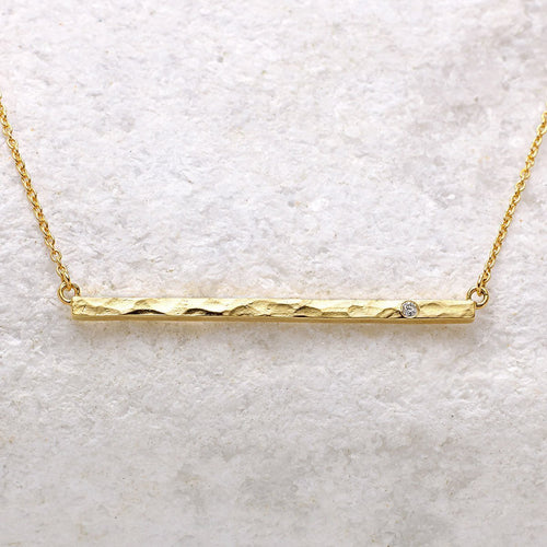 Boho Diamond Bar Gold Necklace-Necklaces-Sharon Mills London-JewelStreet