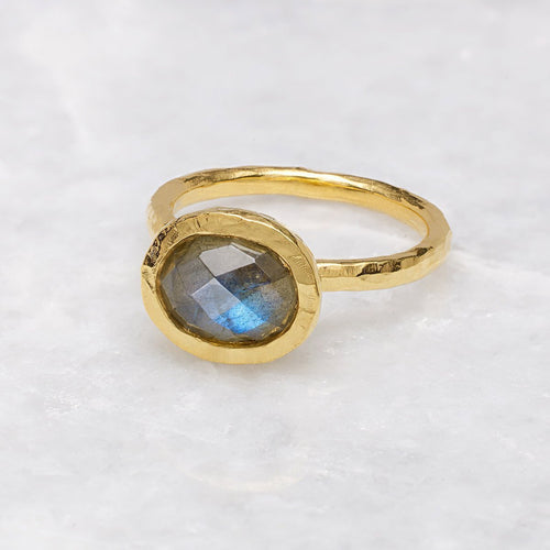 Boho Hammered Labradorite Gold Stack Ring-Rings-Sharon Mills London-JewelStreet