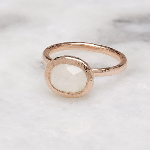 Boho Hammered Moonstone Rose Gold Stack Ring-Rings-Sharon Mills London-JewelStreet