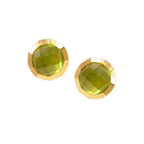 Boho Hammered Peridot Gold Earrings-Earrings-Sharon Mills London-JewelStreet