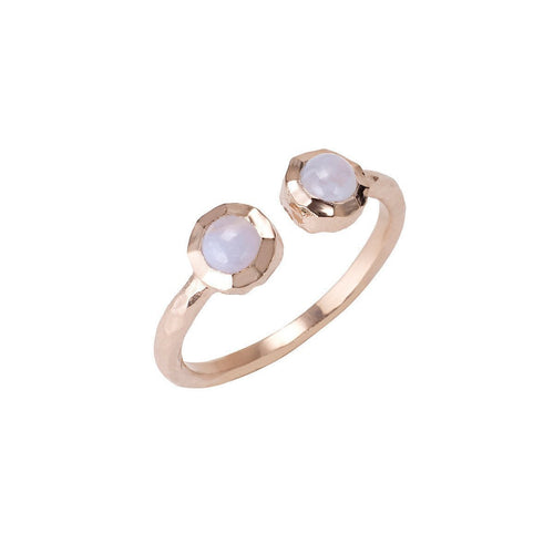 Boho Open Blue Lace Agate Rose Gold Ring-Rings-Sharon Mills London-JewelStreet