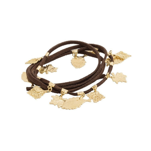Bracelet 3 laps with Leather and Savannah's Leaves Pendants-Bracelets-Amazona Secrets-JewelStreet