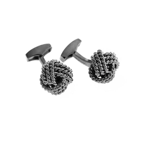 Cable Knot Cufflinks In Gunmetal Plating ,[product vendor],JewelStreet