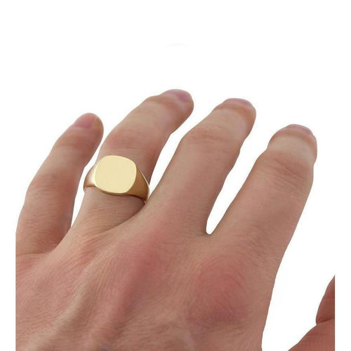Cushion-shaped 9kt Yellow Gold Heavyweight Signet Ring ,[product vendor],JewelStreet