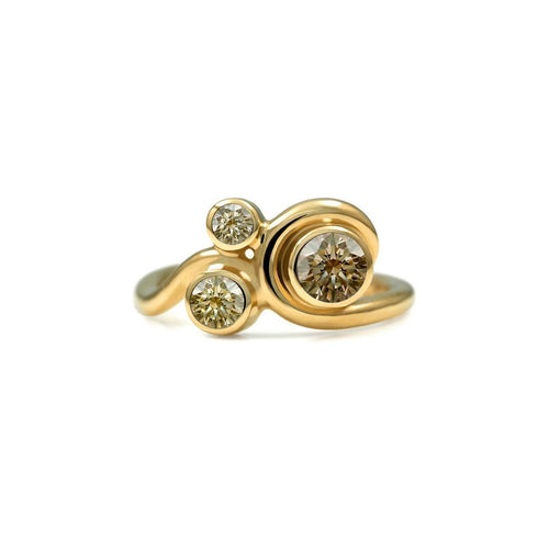 Entwine Three Stone Ring In Gold With Champagne Diamond ,[product vendor],JewelStreet