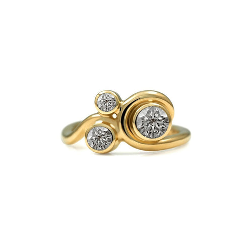 Entwine Three Stone Ring In Gold With Diamond ,[product vendor],JewelStreet