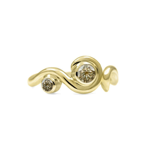 Entwine Two Stone Ring In Gold With Champagne Diamond ,[product vendor],JewelStreet