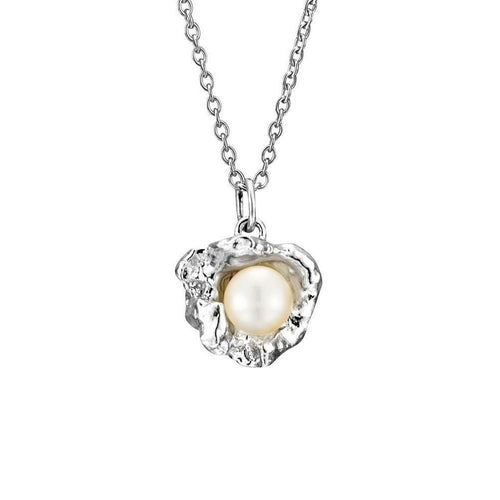 Flower Cup Pearl Sterling Silver Necklace ,[product vendor],JewelStreet
