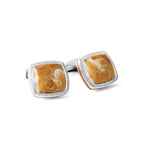 Fossil Star Coral Silver Cufflinks - Limited Edition ,[product vendor],JewelStreet