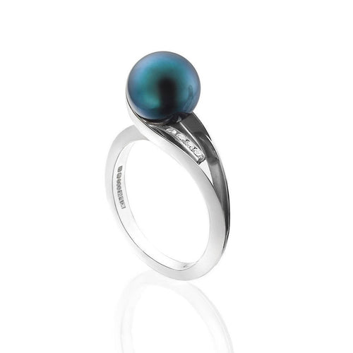 Gatsby Black Pearl and Diamond Ring-Rings-Karen Phillips-JewelStreet