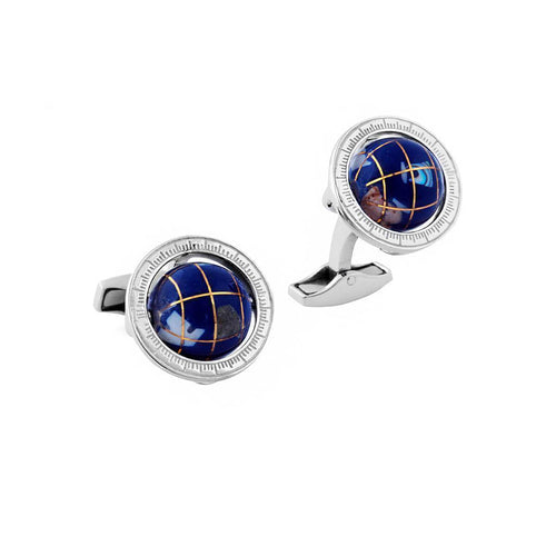 Globe Cufflinks In Silver With Lapis Lazuli ,[product vendor],JewelStreet