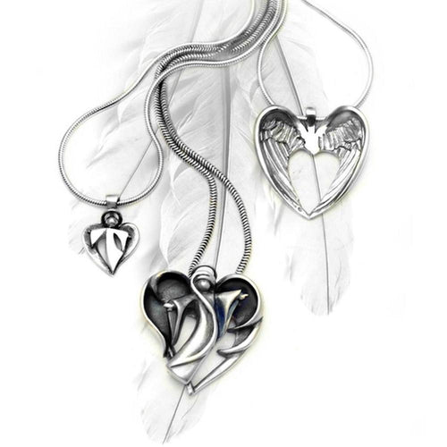 Halo Winged Heart Necklace ,[product vendor],JewelStreet