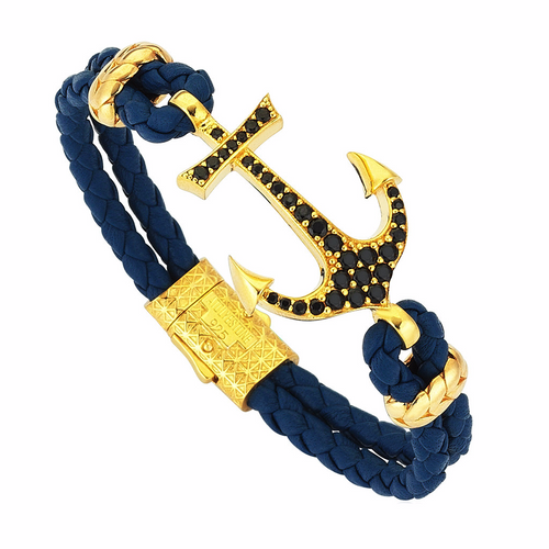 Nappa Leather Anchor Bracelet ,[product vendor],JewelStreet