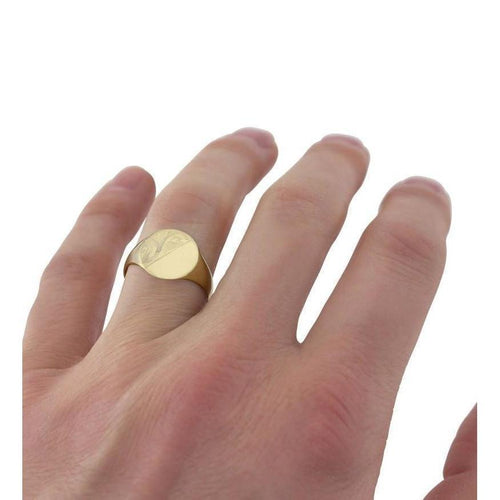 Oval-shaped 9kt Yellow Gold Light Weight Engraved Signet Ring-Rings-Star Wedding Rings-JewelStreet