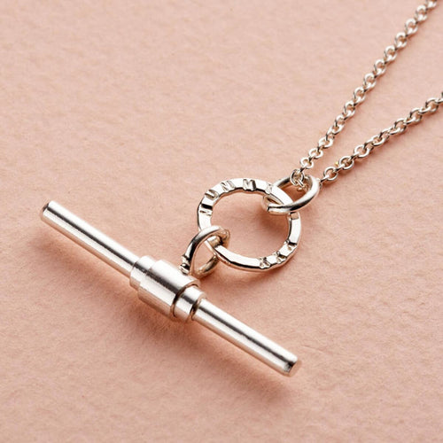 Personalised Albert T Bar Necklace Sterling Silver ,[product vendor],JewelStreet
