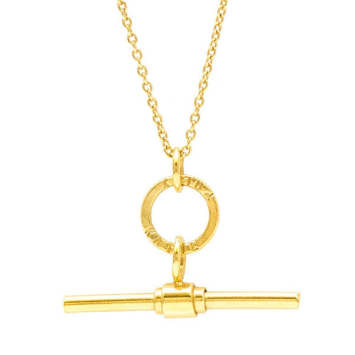 Personalised Albert T Bar Necklace Yellow Gold Plated ,[product vendor],JewelStreet