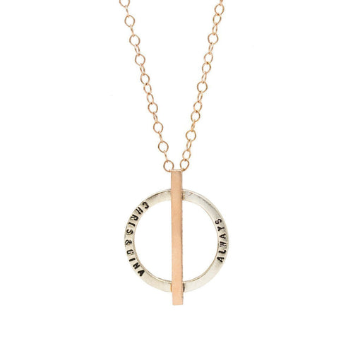 Personalised Circle Bar Necklace Rose Gold Plated ,[product vendor],JewelStreet