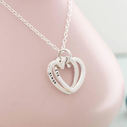 Personalised Interlinking Hearts Necklace Sterling Silver ,[product vendor],JewelStreet