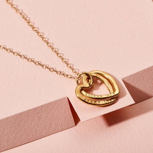 Personalised Interlinking Hearts Necklace Yellow Gold Plated ,[product vendor],JewelStreet