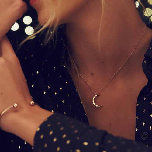 Personalised Moon Necklace Yellow Gold Plated ,[product vendor],JewelStreet